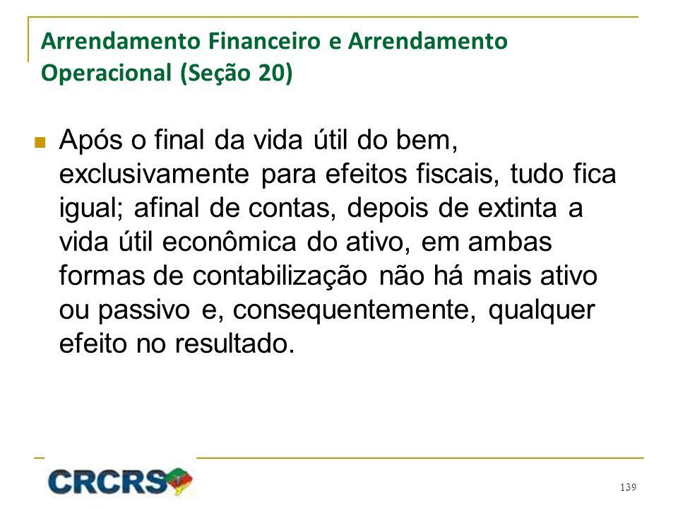 Arrendamento Financeiro e Arrendamento Operacional (Seção 20) Após o final da vida útil do bem, exclusivamente para efeitos fiscais, tudo fica igual;