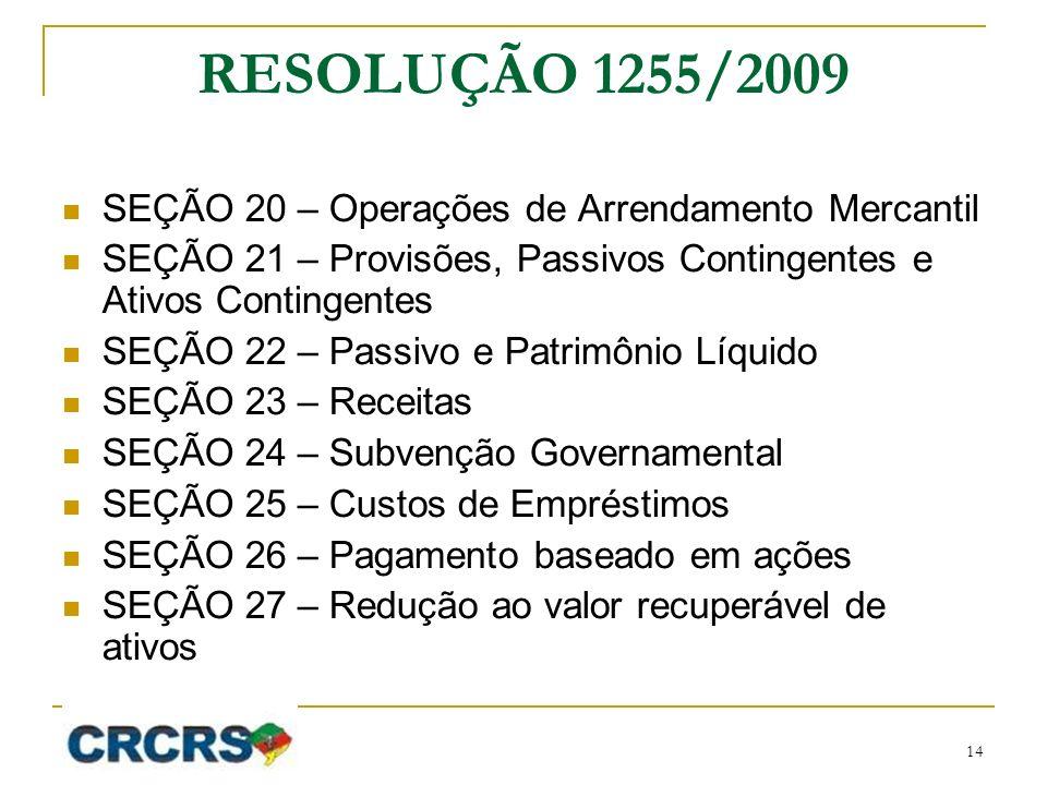RESOLUÇÃO 1255/2009 SEÇÃO 20 – Operações de Arrendamento Mercantil SEÇÃO 21 – Provisões, Passivos Contingentes e Ativos Contingentes SEÇÃO 22 – Passiv