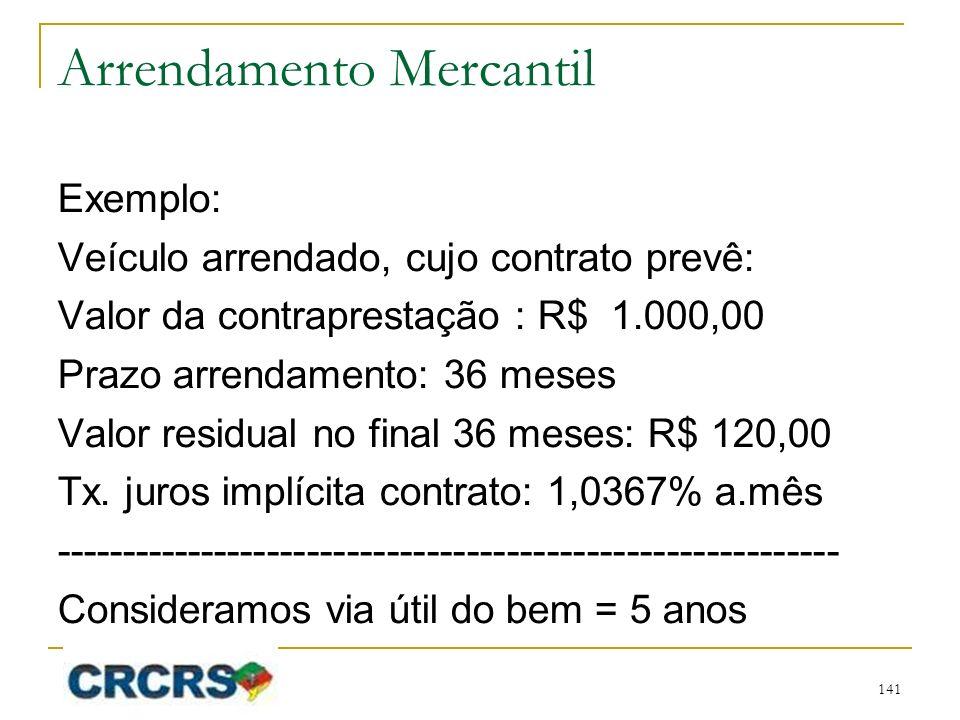 Arrendamento Mercantil Exemplo: Veículo arrendado, cujo contrato prevê: Valor da contraprestação : R$ 1.000,00 Prazo arrendamento: 36 meses Valor residual no final 36 meses: R$ 120,00 Tx.