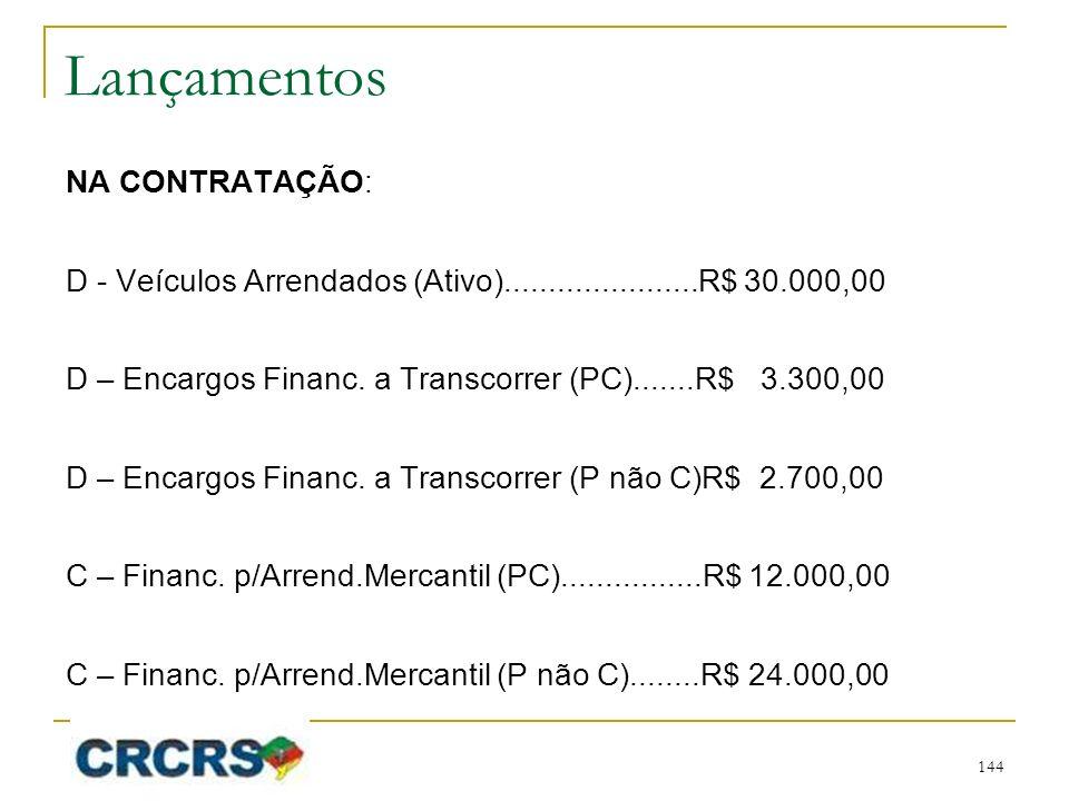 Lançamentos NA CONTRATAÇÃO: D - Veículos Arrendados (Ativo)......................R$ 30.000,00 D – Encargos Financ. a Transcorrer (PC).......R$ 3.300,0