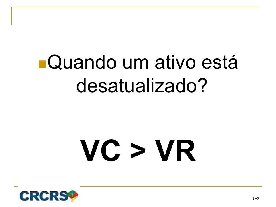 Quando um ativo está desatualizado? VC > VR 149