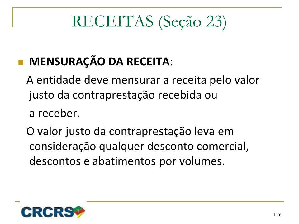RECEITAS (Seção 23) MENSURAÇÃO DA RECEITA: A entidade deve mensurar a receita pelo valor justo da contraprestação recebida ou a receber. O valor justo