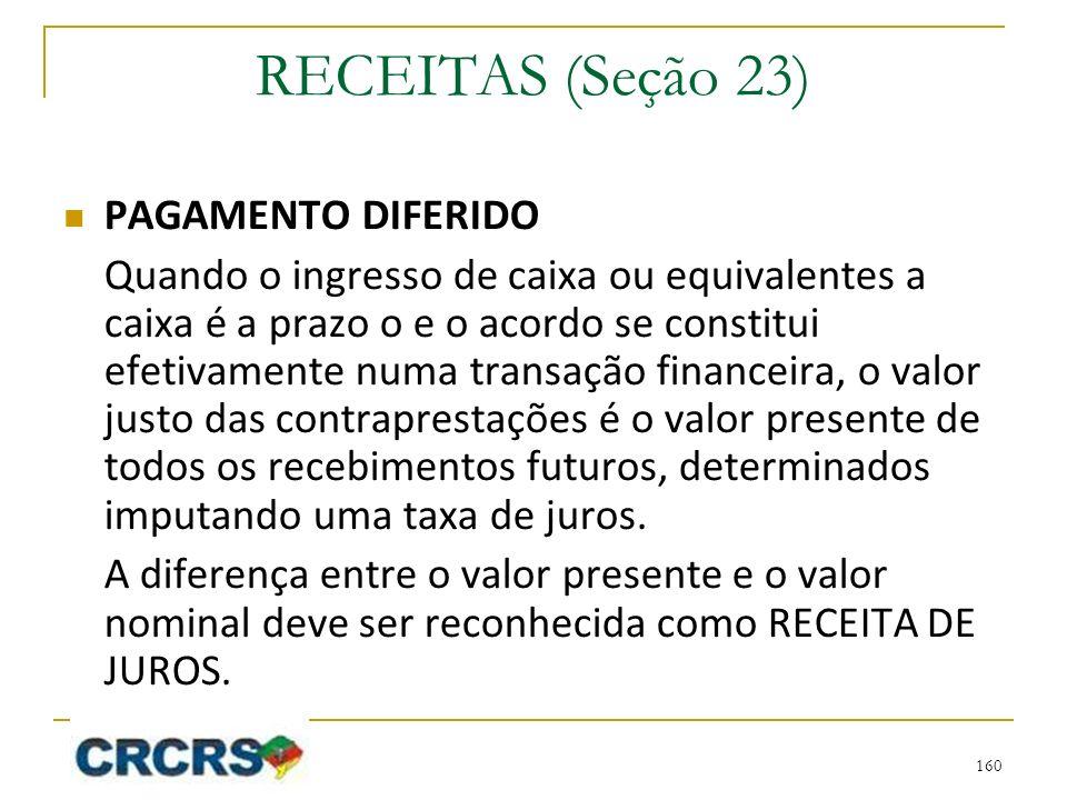 RECEITAS (Seção 23) PAGAMENTO DIFERIDO Quando o ingresso de caixa ou equivalentes a caixa é a prazo o e o acordo se constitui efetivamente numa transa