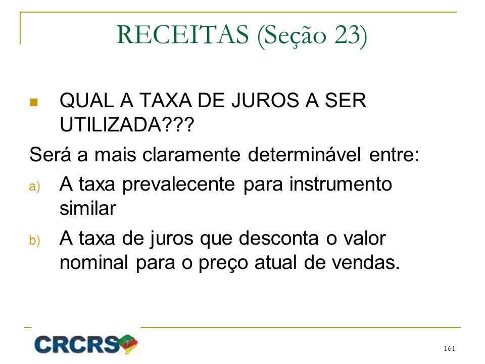 RECEITAS (Seção 23) QUAL A TAXA DE JUROS A SER UTILIZADA??? Será a mais claramente determinável entre: a) A taxa prevalecente para instrumento similar