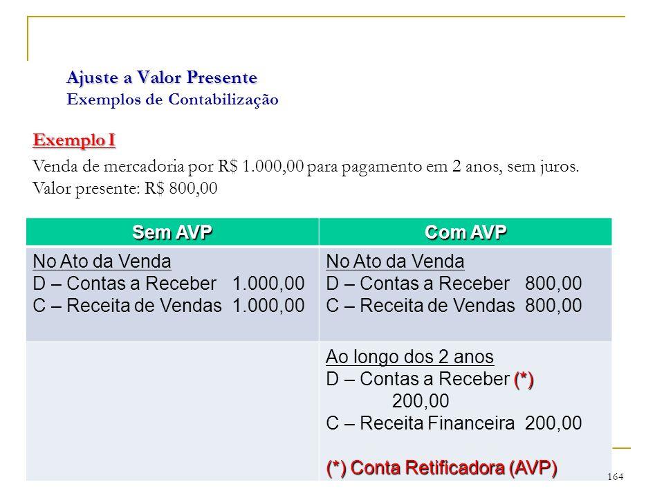Ajuste a Valor Presente Ajuste a Valor Presente Exemplos de Contabilização Exemplo I Venda de mercadoria por R$ 1.000,00 para pagamento em 2 anos, sem