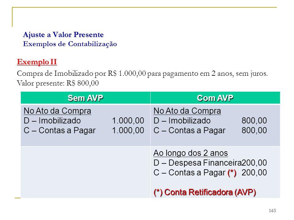 Ajuste a Valor Presente Ajuste a Valor Presente Exemplos de Contabilização Exemplo II Compra de Imobilizado por R$ 1.000,00 para pagamento em 2 anos, sem juros.