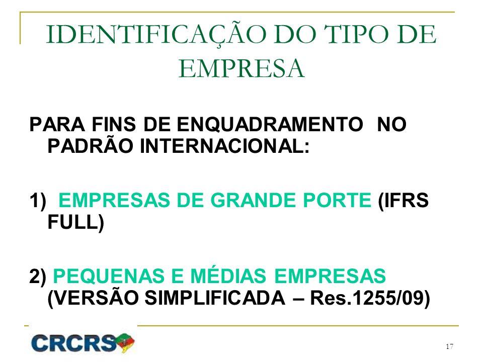 IDENTIFICAÇÃO DO TIPO DE EMPRESA PARA FINS DE ENQUADRAMENTO NO PADRÃO INTERNACIONAL: 1) EMPRESAS DE GRANDE PORTE (IFRS FULL) 2) PEQUENAS E MÉDIAS EMPRESAS (VERSÃO SIMPLIFICADA – Res.1255/09) 17