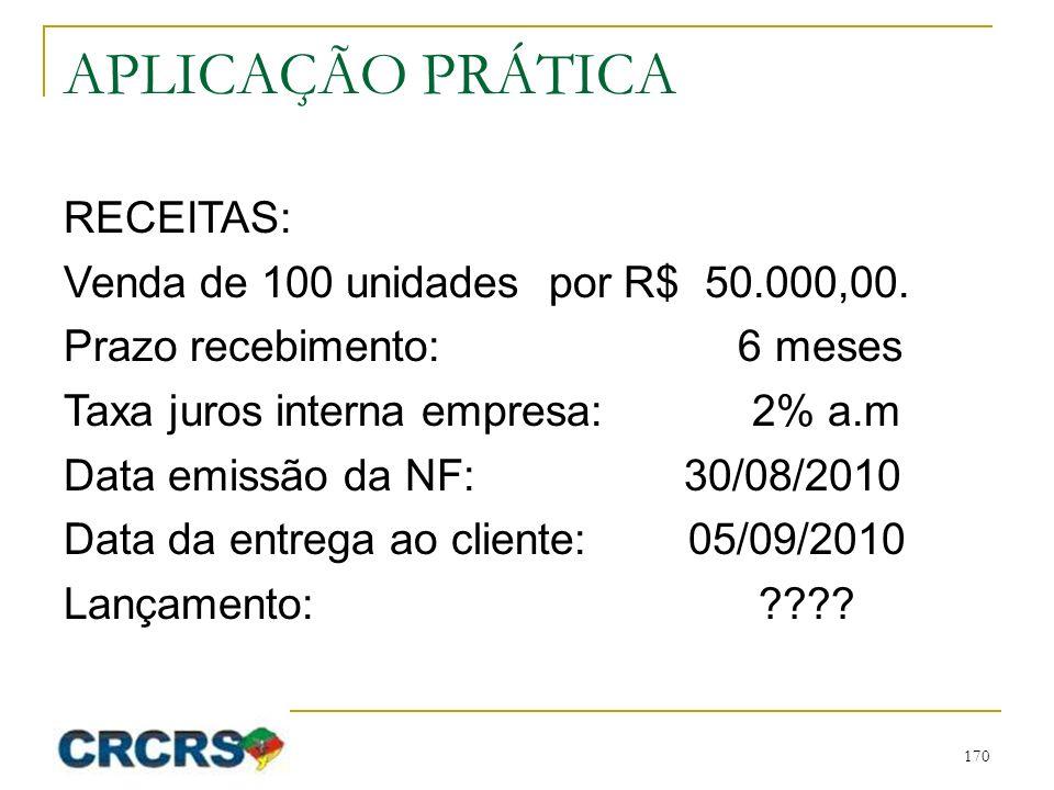 APLICAÇÃO PRÁTICA RECEITAS: Venda de 100 unidades por R$ 50.000,00. Prazo recebimento: 6 meses Taxa juros interna empresa: 2% a.m Data emissão da NF:
