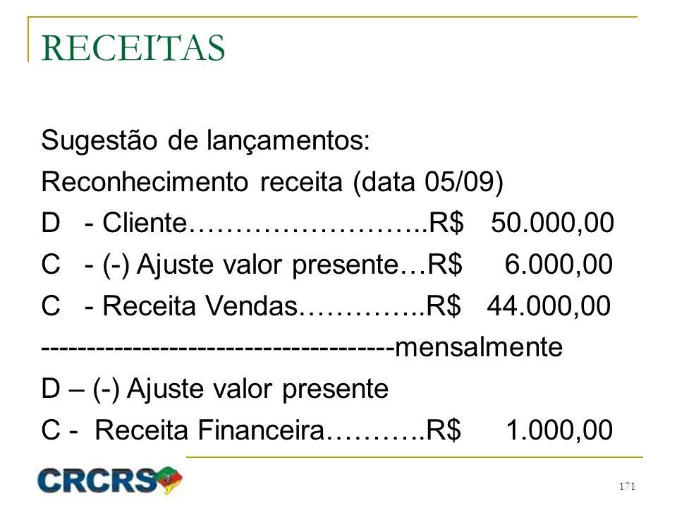 RECEITAS Sugestão de lançamentos: Reconhecimento receita (data 05/09) D - Cliente……………………..R$ 50.000,00 C - (-) Ajuste valor presente…R$ 6.000,00 C - Receita Vendas…………..R$ 44.000,00 --------------------------------------mensalmente D – (-) Ajuste valor presente C - Receita Financeira………..R$ 1.000,00 171