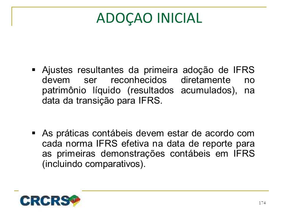 Ajustes resultantes da primeira adoção de IFRS devem ser reconhecidos diretamente no patrimônio líquido (resultados acumulados), na data da transição para IFRS.