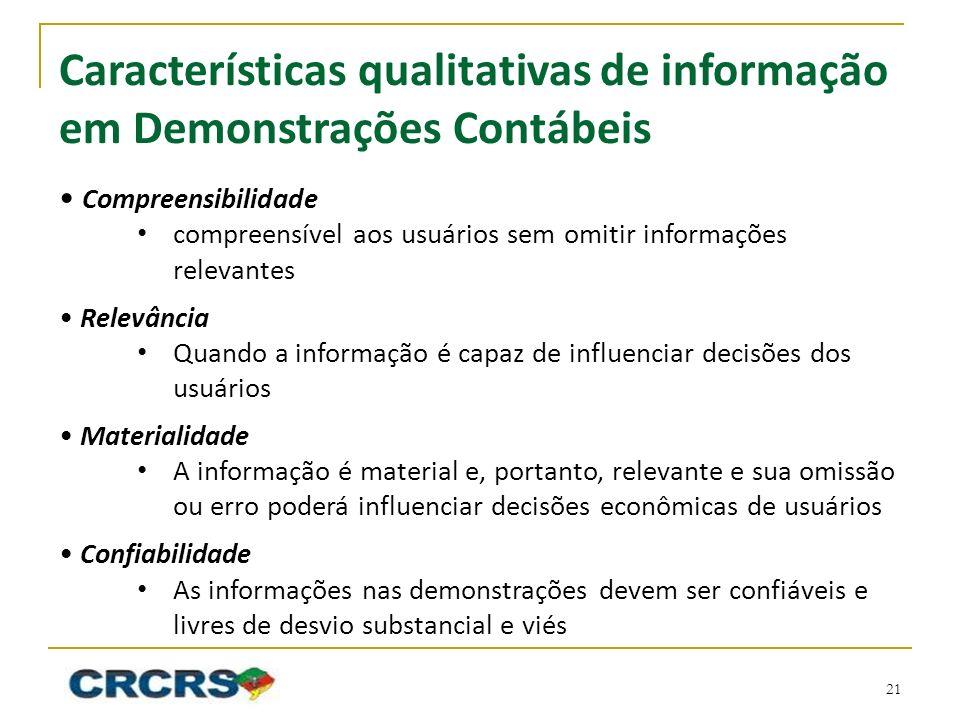 Características qualitativas de informação em Demonstrações Contábeis Compreensibilidade compreensível aos usuários sem omitir informações relevantes