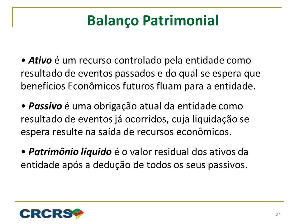Balanço Patrimonial Ativo é um recurso controlado pela entidade como resultado de eventos passados e do qual se espera que benefícios Econômicos futuros fluam para a entidade.