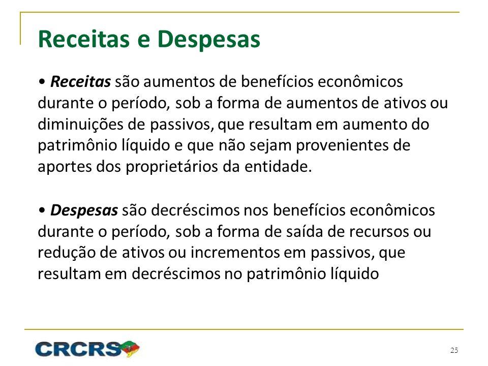 Receitas e Despesas Receitas são aumentos de benefícios econômicos durante o período, sob a forma de aumentos de ativos ou diminuições de passivos, que resultam em aumento do patrimônio líquido e que não sejam provenientes de aportes dos proprietários da entidade.