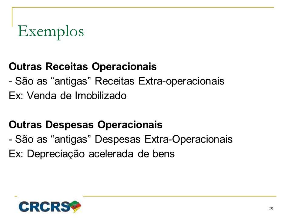 Exemplos Outras Receitas Operacionais - São as antigas Receitas Extra-operacionais Ex: Venda de Imobilizado Outras Despesas Operacionais - São as anti