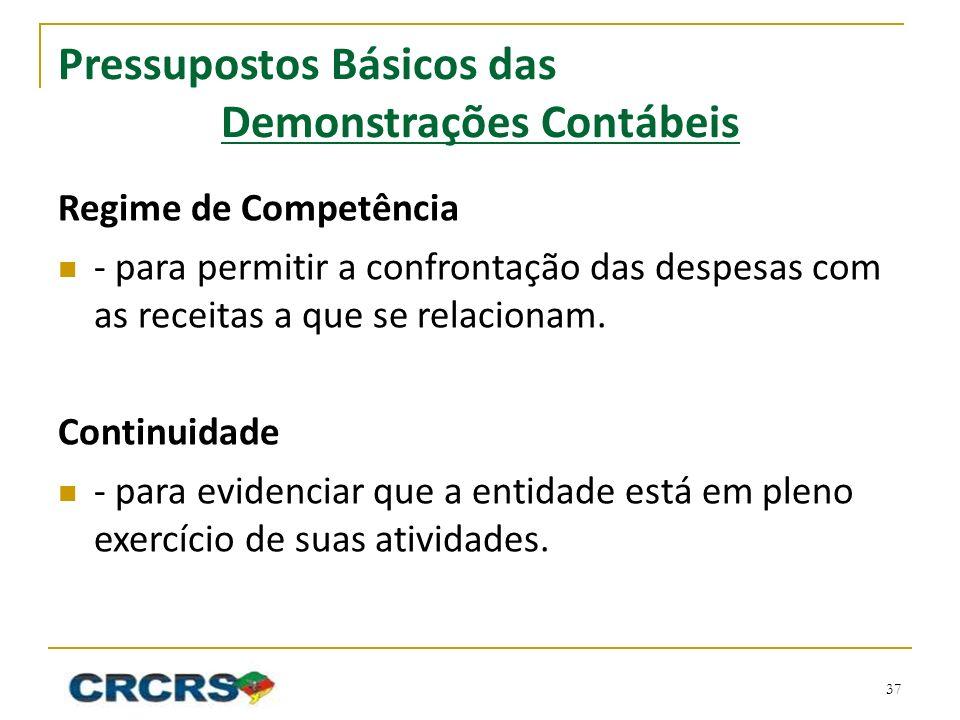 Pressupostos Básicos das Demonstrações Contábeis Regime de Competência - para permitir a confrontação das despesas com as receitas a que se relacionam