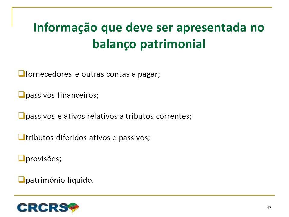 Informação que deve ser apresentada no balanço patrimonial fornecedores e outras contas a pagar; passivos financeiros; passivos e ativos relativos a t