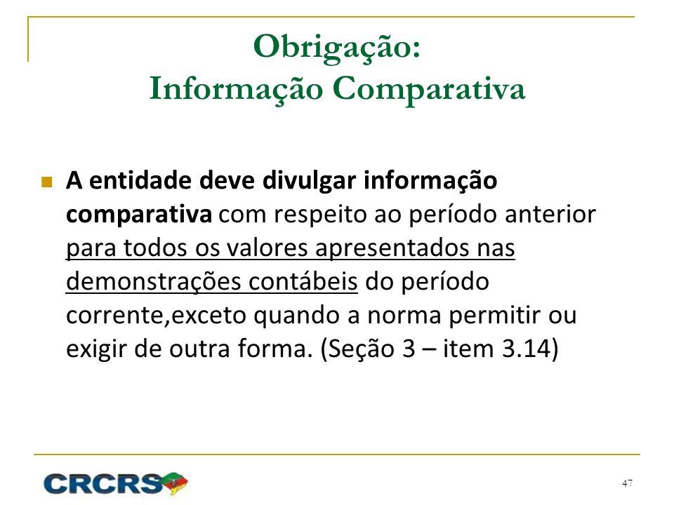 Obrigação: Informação Comparativa A entidade deve divulgar informação comparativa com respeito ao período anterior para todos os valores apresentados