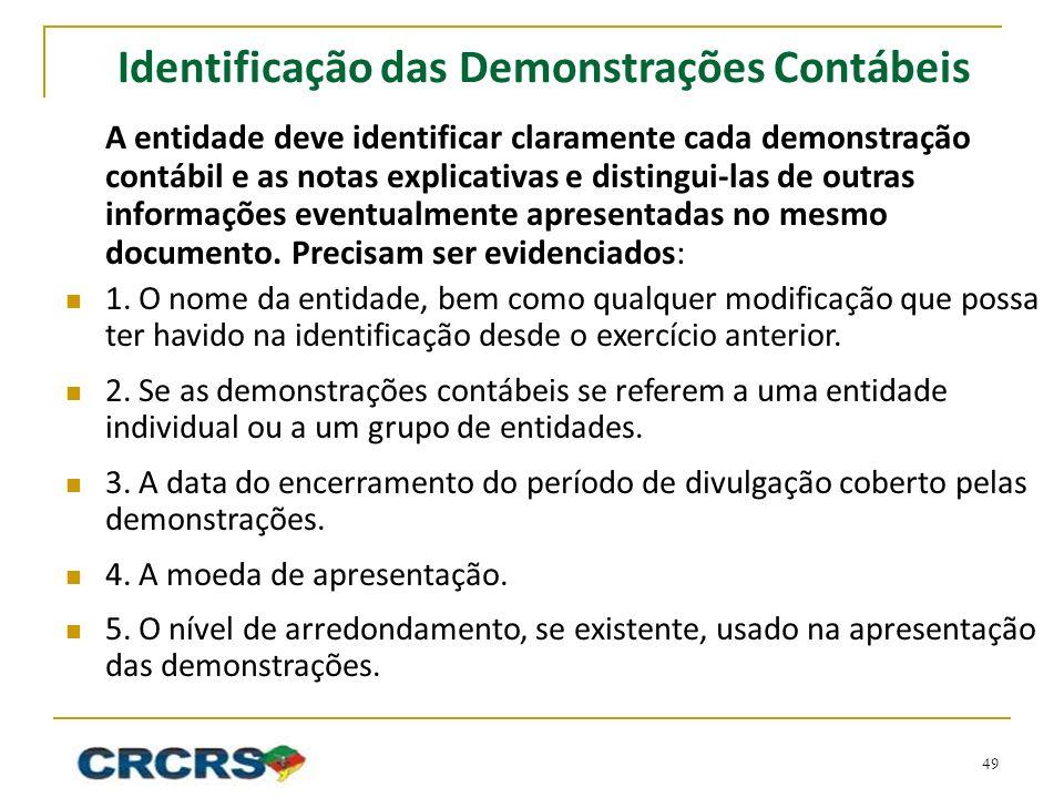 Identificação das Demonstrações Contábeis A entidade deve identificar claramente cada demonstração contábil e as notas explicativas e distingui-las de outras informações eventualmente apresentadas no mesmo documento.