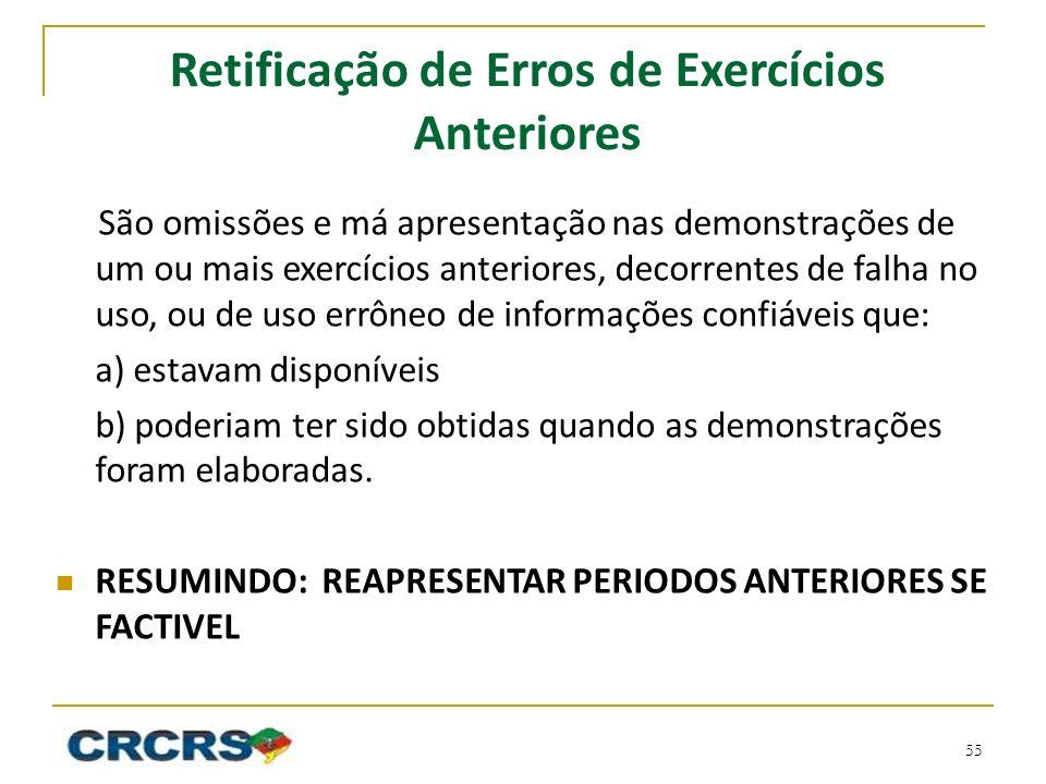 Retificação de Erros de Exercícios Anteriores São omissões e má apresentação nas demonstrações de um ou mais exercícios anteriores, decorrentes de fal