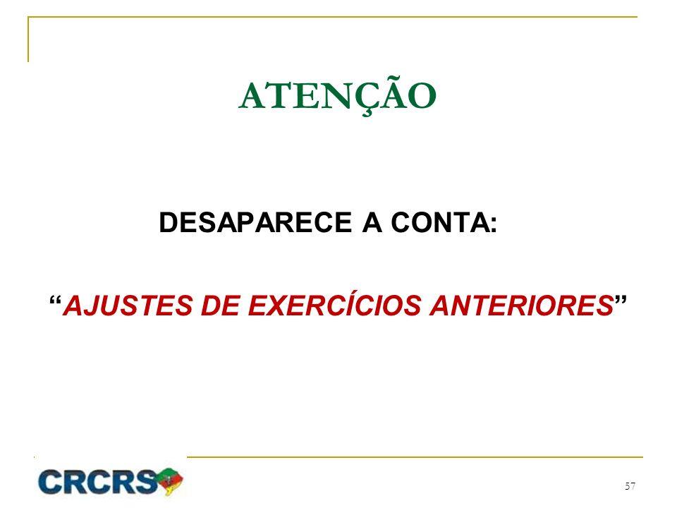 ATENÇÃO DESAPARECE A CONTA: AJUSTES DE EXERCÍCIOS ANTERIORES 57