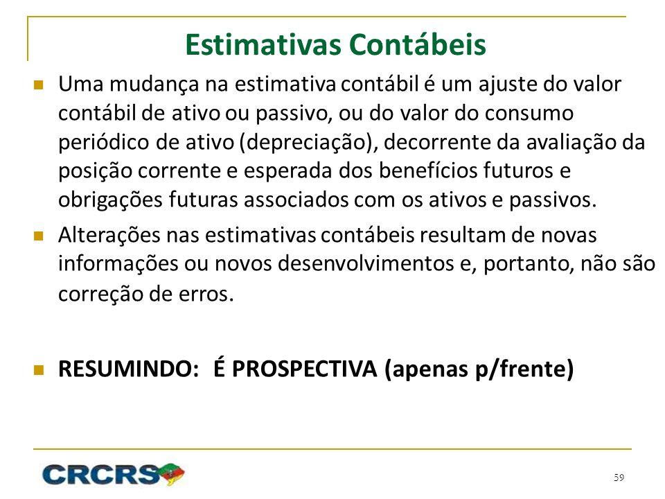 Estimativas Contábeis Uma mudança na estimativa contábil é um ajuste do valor contábil de ativo ou passivo, ou do valor do consumo periódico de ativo