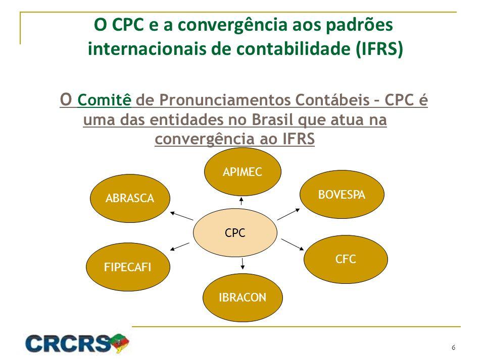 O Comitê de Pronunciamentos Contábeis – CPC é uma das entidades no Brasil que atua na convergência ao IFRS CPC ABRASCA FIPECAFI IBRACON CFC BOVESPA APIMEC O CPC e a convergência aos padrões internacionais de contabilidade (IFRS) 6