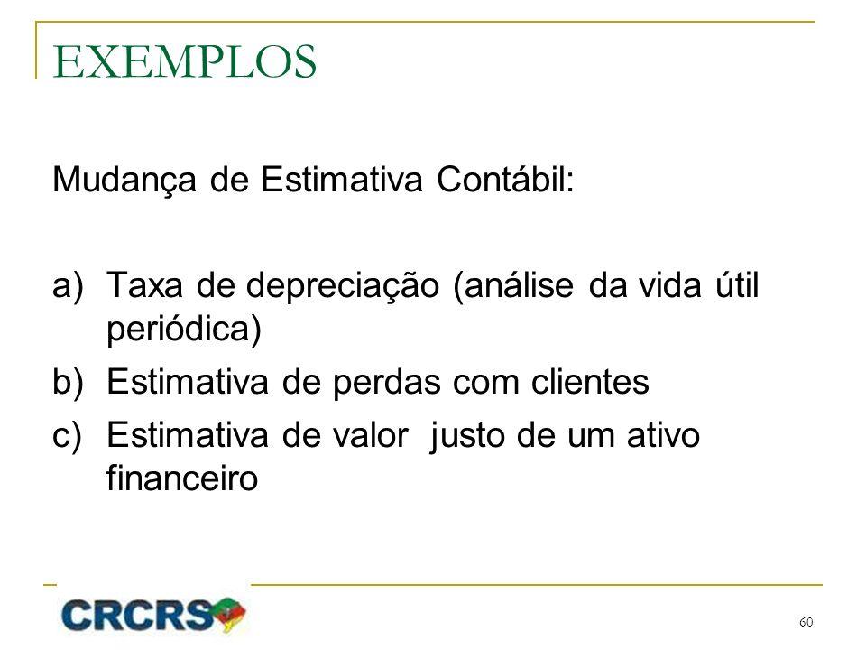 EXEMPLOS Mudança de Estimativa Contábil: a)Taxa de depreciação (análise da vida útil periódica) b)Estimativa de perdas com clientes c)Estimativa de valor justo de um ativo financeiro 60