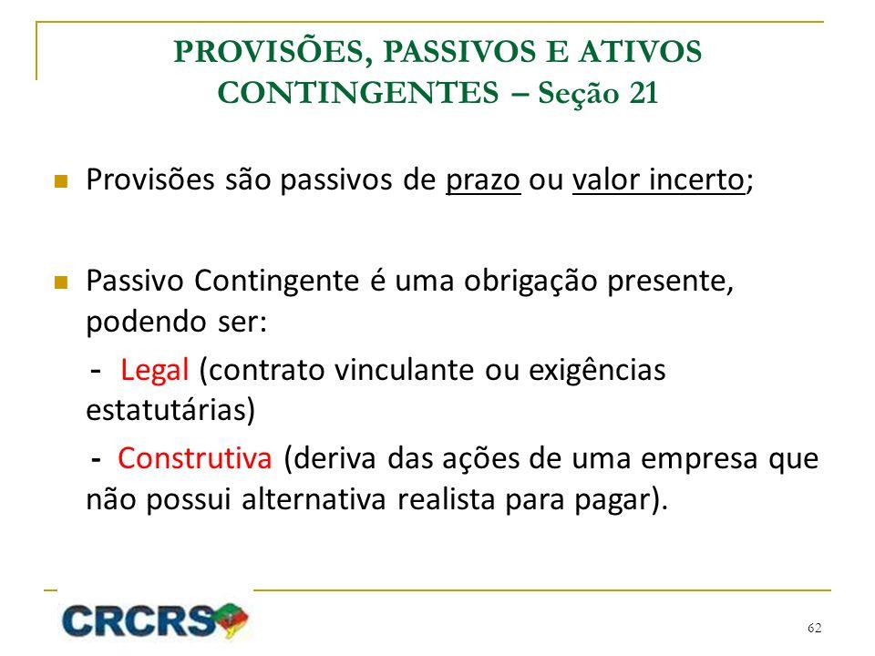 PROVISÕES, PASSIVOS E ATIVOS CONTINGENTES – Seção 21 Provisões são passivos de prazo ou valor incerto; Passivo Contingente é uma obrigação presente, p
