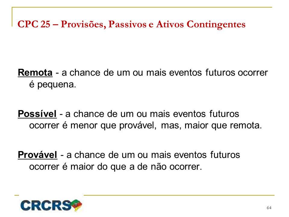 CPC 25 – Provisões, Passivos e Ativos Contingentes Remota - a chance de um ou mais eventos futuros ocorrer é pequena. Possível - a chance de um ou mai