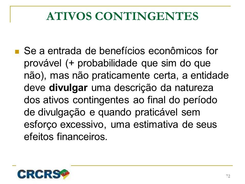 ATIVOS CONTINGENTES Se a entrada de benefícios econômicos for provável (+ probabilidade que sim do que não), mas não praticamente certa, a entidade de