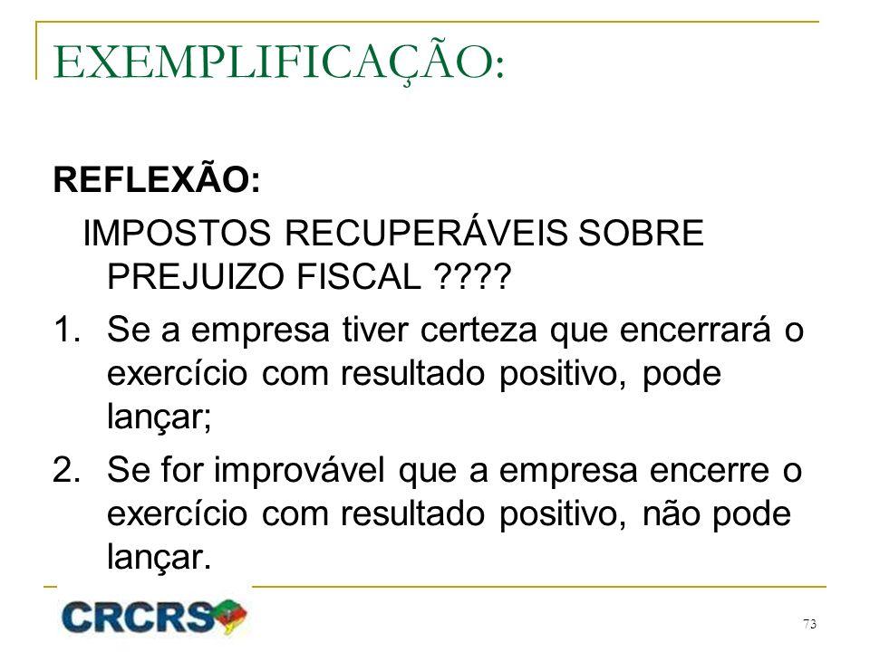 EXEMPLIFICAÇÃO: REFLEXÃO: IMPOSTOS RECUPERÁVEIS SOBRE PREJUIZO FISCAL ???.