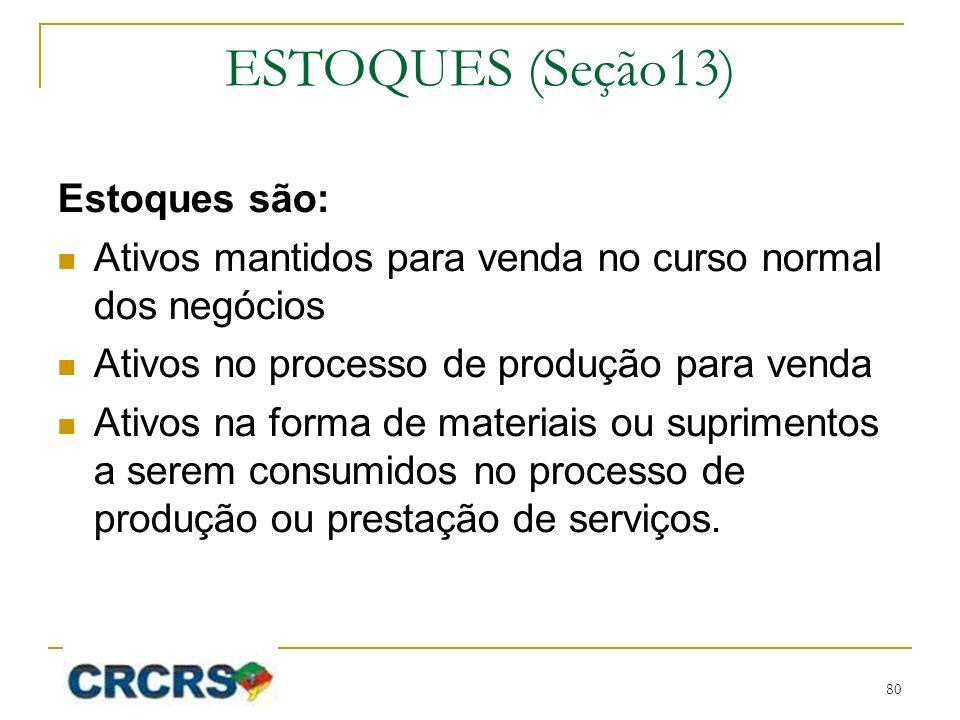 ESTOQUES (Seção13) Estoques são: Ativos mantidos para venda no curso normal dos negócios Ativos no processo de produção para venda Ativos na forma de materiais ou suprimentos a serem consumidos no processo de produção ou prestação de serviços.