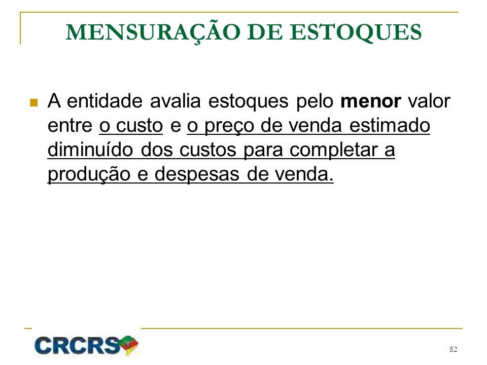 MENSURAÇÃO DE ESTOQUES A entidade avalia estoques pelo menor valor entre o custo e o preço de venda estimado diminuído dos custos para completar a pro