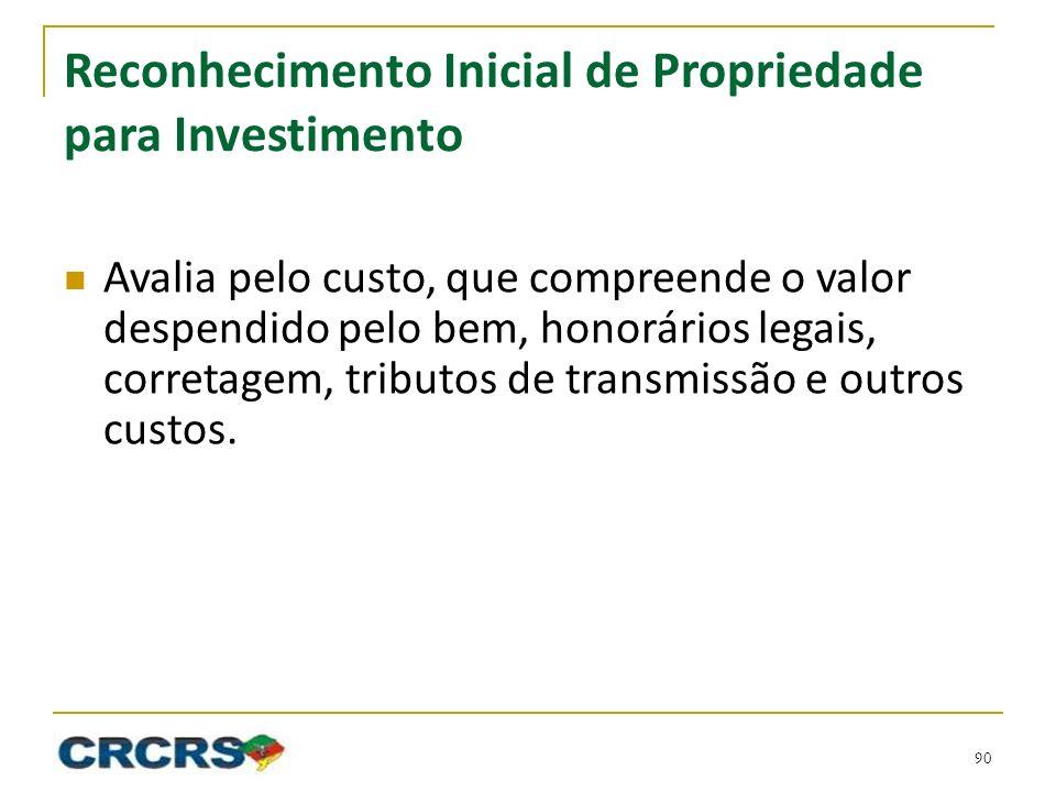 Reconhecimento Inicial de Propriedade para Investimento Avalia pelo custo, que compreende o valor despendido pelo bem, honorários legais, corretagem, tributos de transmissão e outros custos.