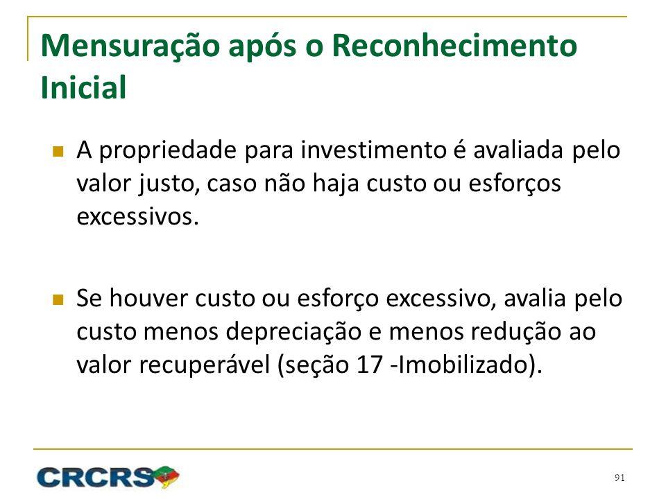 Mensuração após o Reconhecimento Inicial A propriedade para investimento é avaliada pelo valor justo, caso não haja custo ou esforços excessivos.
