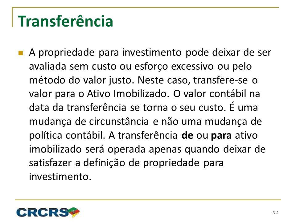 Transferência A propriedade para investimento pode deixar de ser avaliada sem custo ou esforço excessivo ou pelo método do valor justo. Neste caso, tr