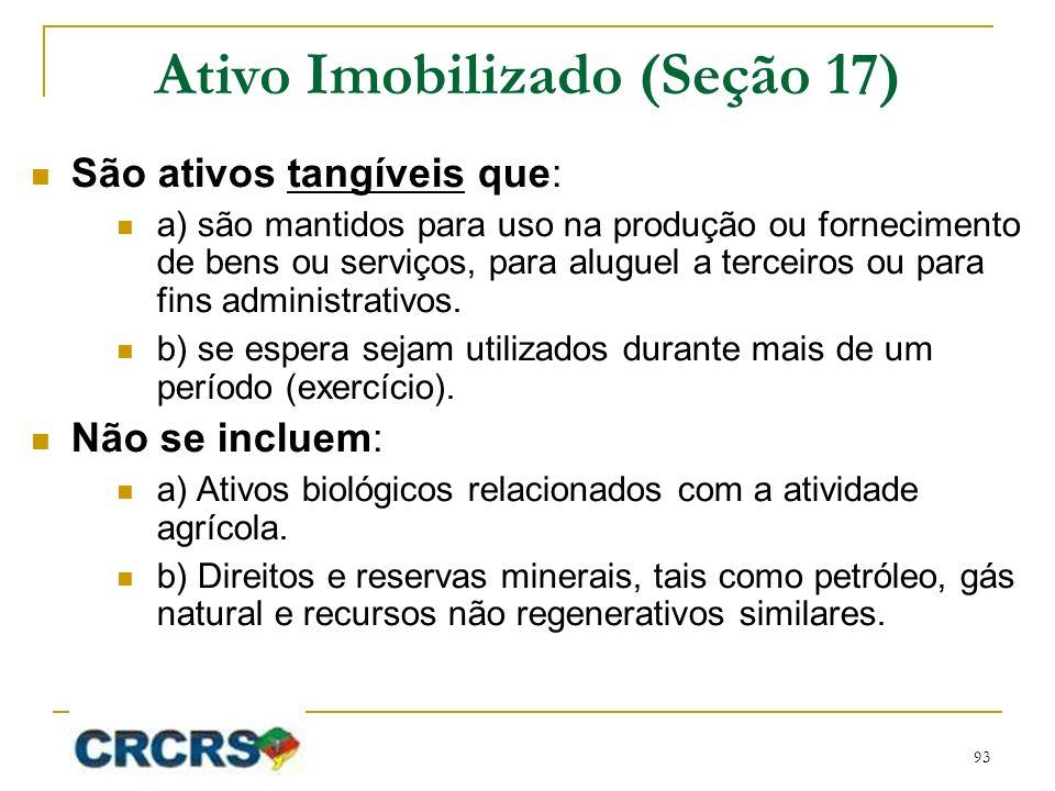 Ativo Imobilizado (Seção 17) São ativos tangíveis que: a) são mantidos para uso na produção ou fornecimento de bens ou serviços, para aluguel a tercei