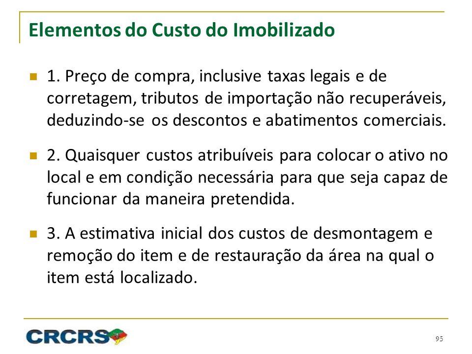 Elementos do Custo do Imobilizado 1. Preço de compra, inclusive taxas legais e de corretagem, tributos de importação não recuperáveis, deduzindo-se os