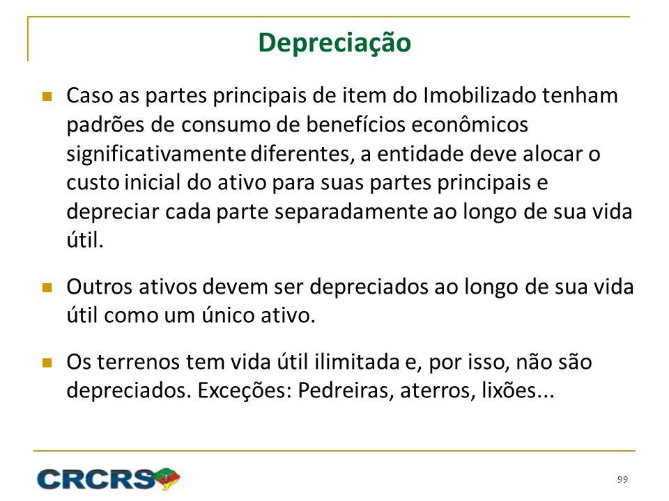 Depreciação Caso as partes principais de item do Imobilizado tenham padrões de consumo de benefícios econômicos significativamente diferentes, a entid