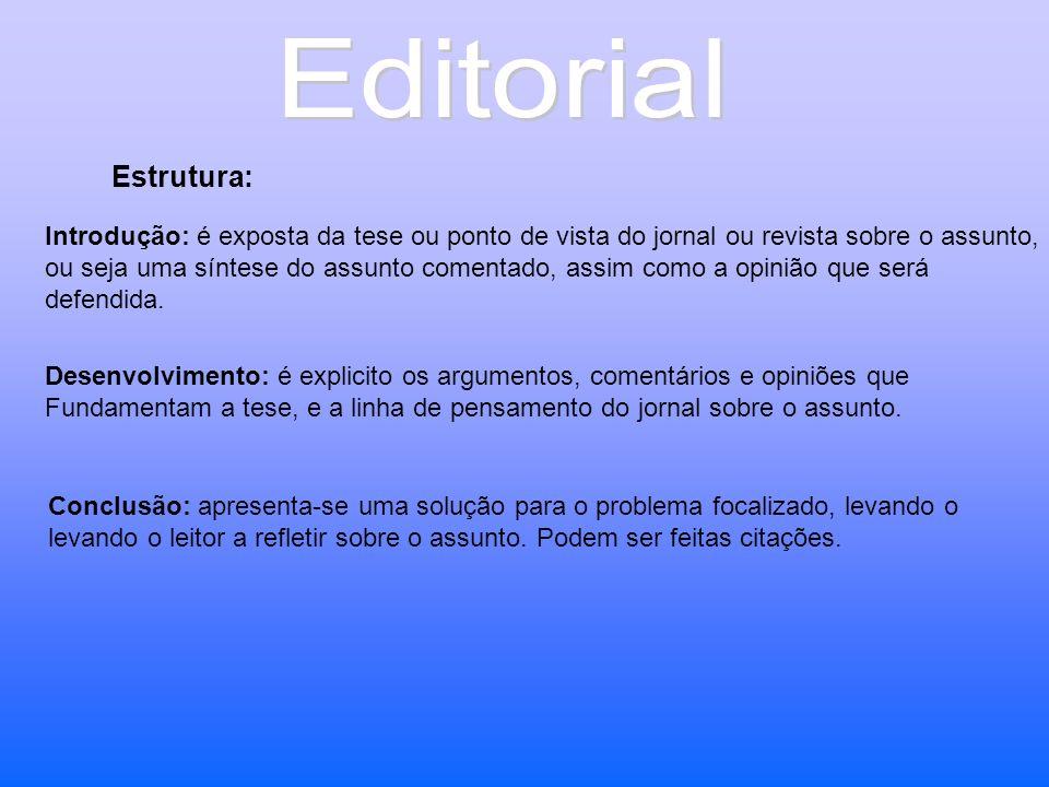 Estrutura: Introdução: é exposta da tese ou ponto de vista do jornal ou revista sobre o assunto, ou seja uma síntese do assunto comentado, assim como