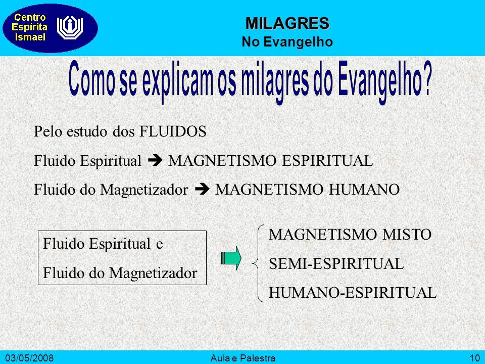 03/05/2008Aula e Palestra10 MILAGRES No Evangelho Pelo estudo dos FLUIDOS Fluido Espiritual MAGNETISMO ESPIRITUAL Fluido do Magnetizador MAGNETISMO HU