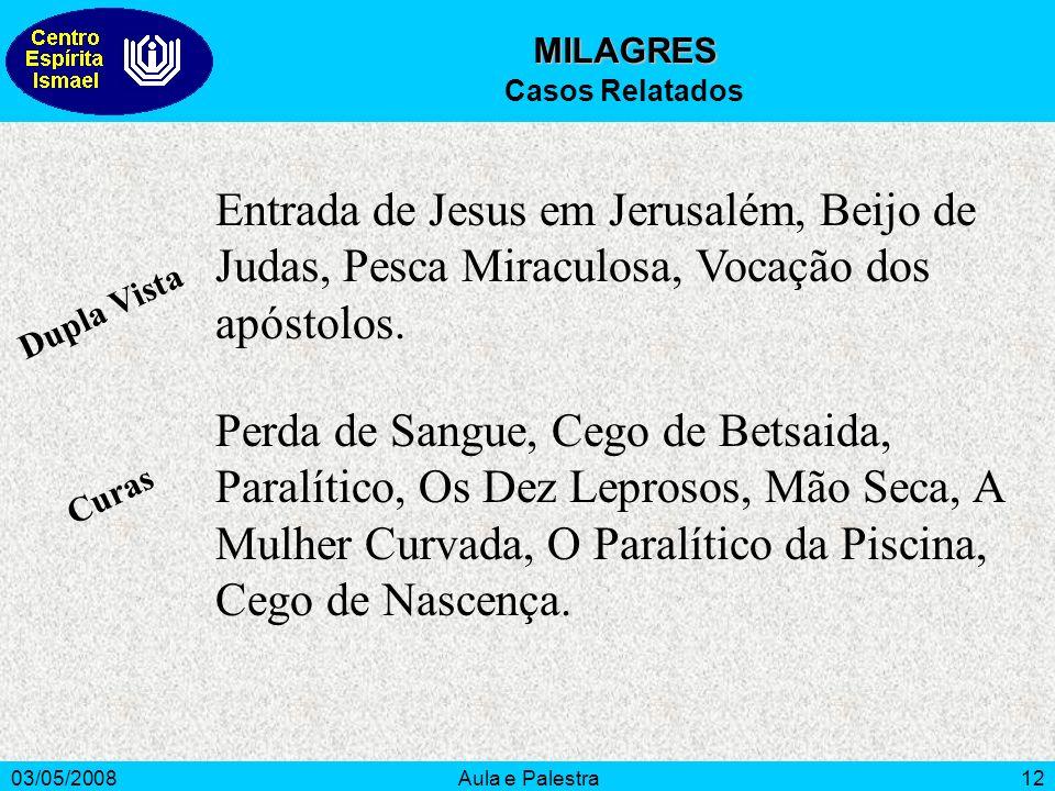 03/05/2008Aula e Palestra12 Dupla Vista Curas Entrada de Jesus em Jerusalém, Beijo de Judas, Pesca Miraculosa, Vocação dos apóstolos. Perda de Sangue,
