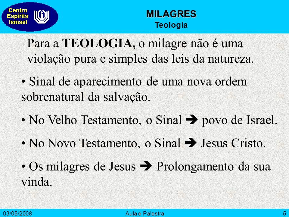 03/05/2008Aula e Palestra5 MILAGRES Teologia Para a TEOLOGIA, o milagre não é uma violação pura e simples das leis da natureza. Sinal de aparecimento