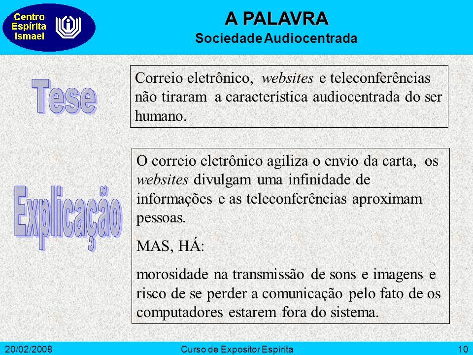 20/02/2008Curso de Expositor Espírita10 A PALAVRA Sociedade Audiocentrada Correio eletrônico, websites e teleconferências não tiraram a característica audiocentrada do ser humano.
