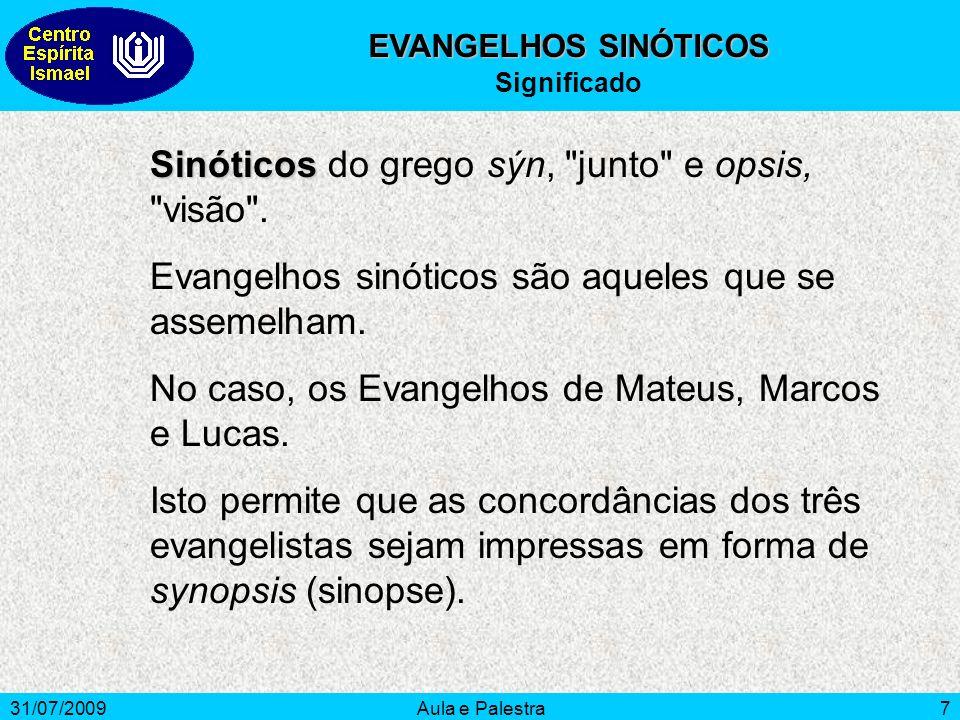 31/07/2009Aula e Palestra8 OS EVANGELISTAS Mateus Mateus, o publicano, traça a vida histórica e cronológica de Jesus, Divide-o em: 1) Fundação do Reino dos Céus.