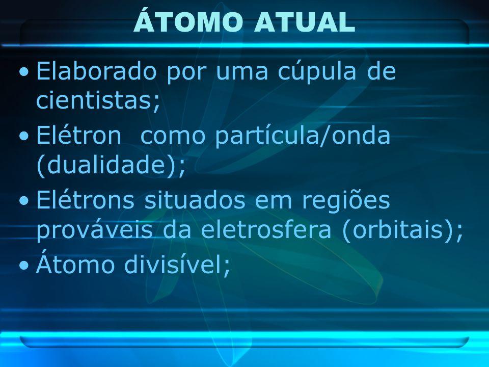 ÁTOMO ATUAL Elaborado por uma cúpula de cientistas; Elétron como partícula/onda (dualidade); Elétrons situados em regiões prováveis da eletrosfera (or