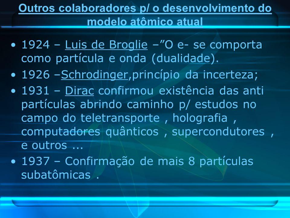 Outros colaboradores p/ o desenvolvimento do modelo atômico atual 1924 – Luis de Broglie –O e- se comporta como partícula e onda (dualidade). 1926 –Sc