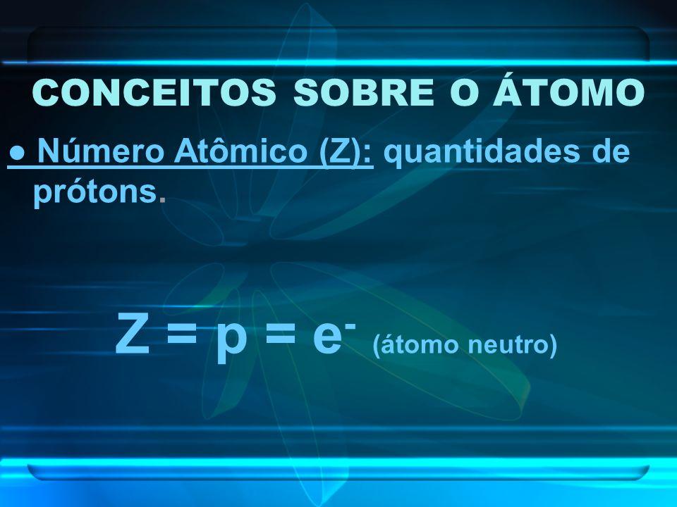 CONCEITOS SOBRE O ÁTOMO Número Atômico (Z): quantidades de prótons. Z = p = e - (átomo neutro)