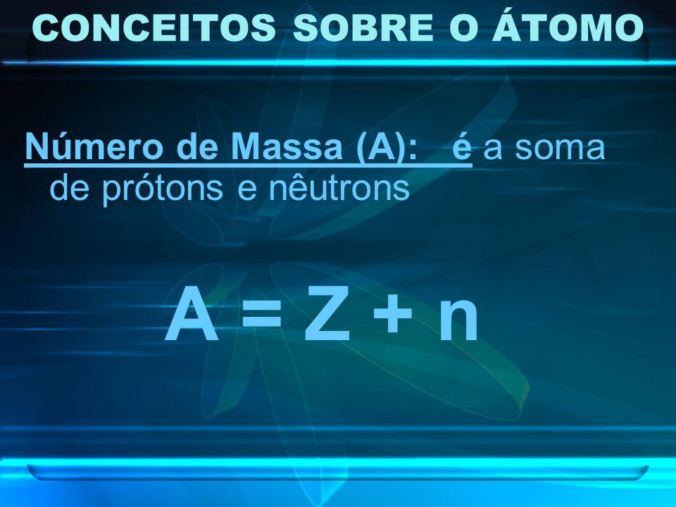 CONCEITOS SOBRE O ÁTOMO Número de Massa (A): é a soma de prótons e nêutrons A = Z + n