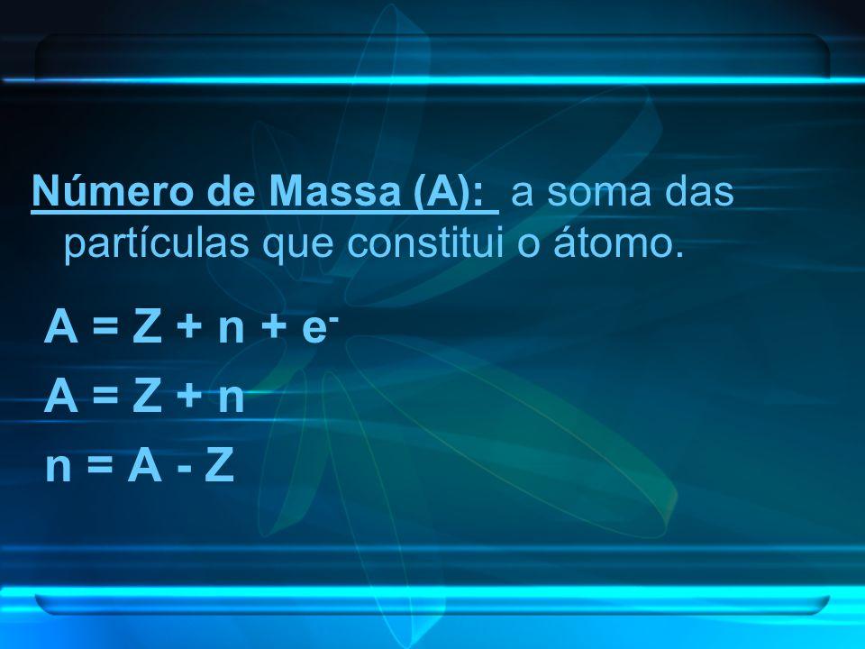 Número de Massa (A): a soma das partículas que constitui o átomo. A = Z + n + e - A = Z + n n = A - Z